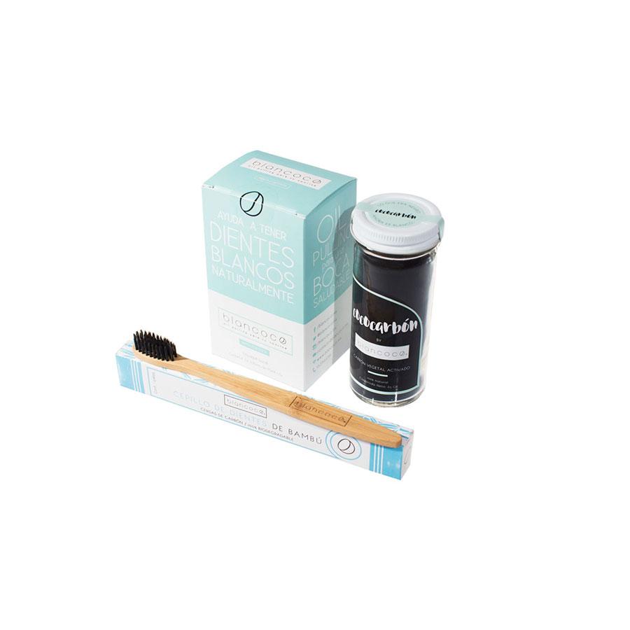 Paquete Blancoco Oil Pulling, Carbón Activado y Cepillo de Dientes de Bamboo