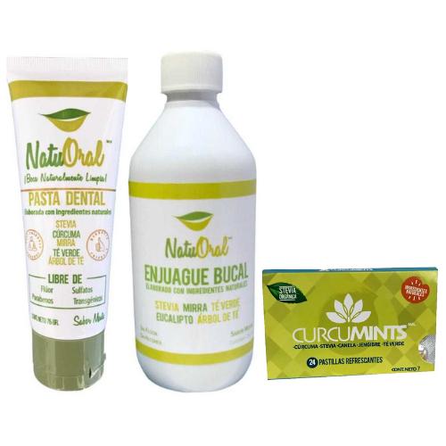 Trio Necesario: Pasta Dental, Enjuague Bucal y Pastillas Refrescantes *Ingredientes 100% Naturales