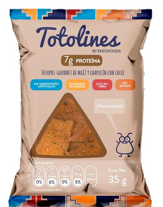 Totolines Snack con Chapulín y Chile Horneado